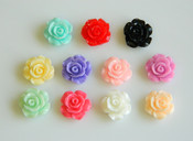 10 pieces small Roses Flower Japanese Kawaii Flat Back Resin Cabochons (  Assorted Colors )  -- lovekitty