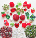 DIY 3D Rhinestone Cherry Bling Cell Phone Case Resin Flat back Kawaii Cabochons Deco Kit / Set --  by lovekitty