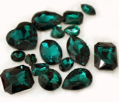 Dark Green  --- 10 pcs Mixed Shapes lot Cut Back Crystal Glass Gems  ---- lovekittybling