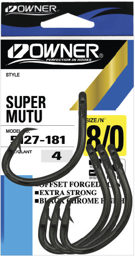 4 HOOKS SIZE 8//0 - 5127-181 OWNER SUPER MUTU CIRCLE HOOK