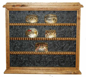 Black Tooled back on 20 Buckle Display Great for Rodeo Awards and Barrel Racing Awards