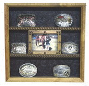8 Buckle Display with 5x7 Picture frame Great for Rodeo Awards and Barrel Racing Awards