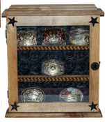 9 Buckle Glass Door Buckle Display Great for Rodeo Awards and Barrel Racing Awards