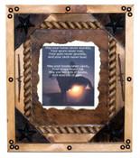 Framed Cowboy Prayer with Cowhide Back