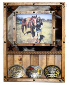 8x10 Frame and Buckle shelf combo - Cowhide Great for Rodeo Awards and Barrel Racing Awards