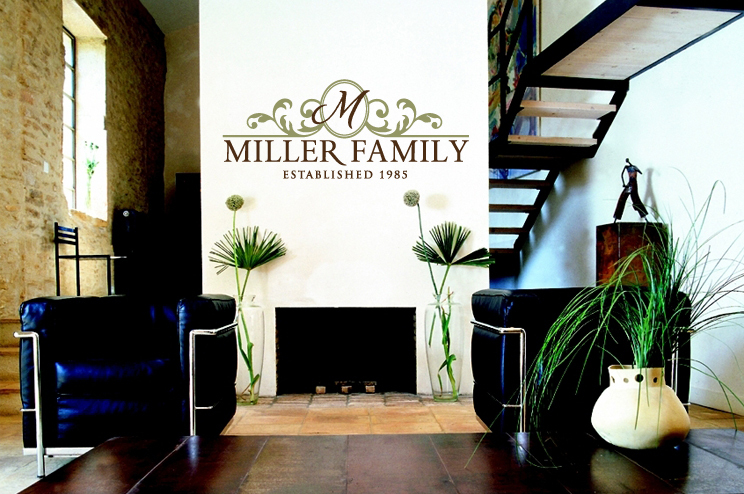 Wall Decals - Family monogram wall decals