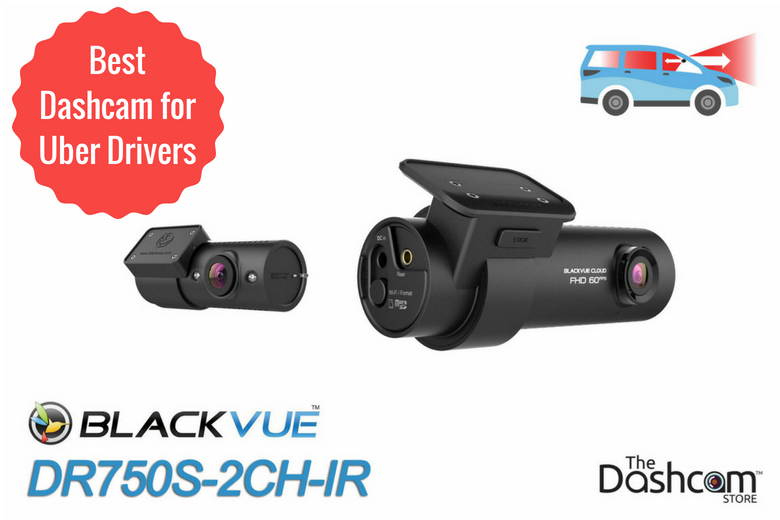 image: The best dashcam for Uber and Lyft rideshare drivers is the BlackVue DR750S-2CH-IR front and interior dashcam | The Dashcam Store Blog