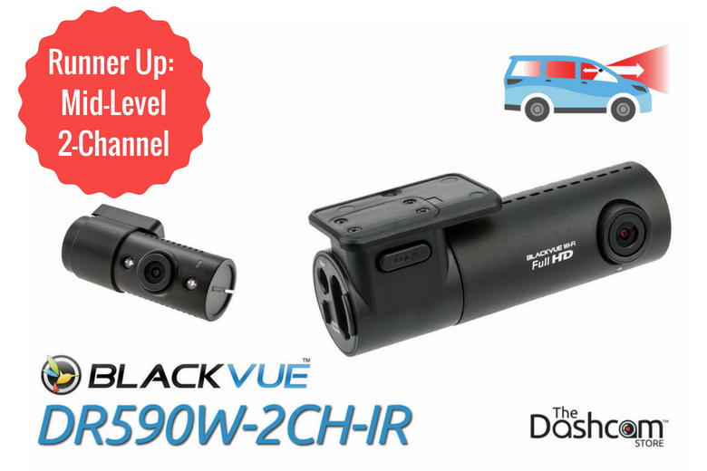 BlackVue DR590W-2CH-IR Dual Lens Dual 1080p Dash Cam | for Rideshare Front + Inside Video and Audio Recording