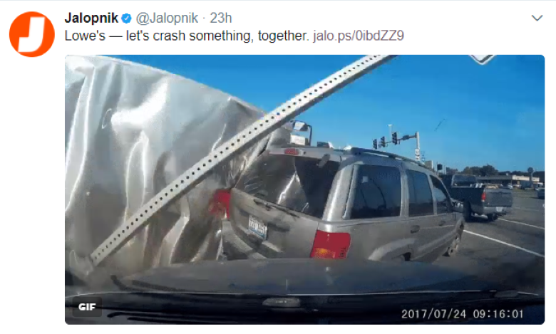 Jalopnik tweets about Lowes truck crash caught on dashcam | The Dashcam Store Blog
