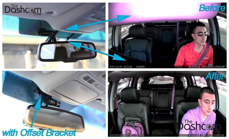 BlackVue DR650S-2CH-IR dashcam interior facing lens before and after The Dashcam Store offset mounting bracket mounted on windshield