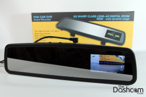 DVR-VC900 rear view mirror style dash cam - built-in display showing live view