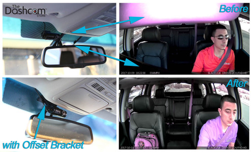 Custom Offset Bracket for BlackVue DR650S-2CH-IR Inside-facing Dashcam Lens | Before and After Example Photo