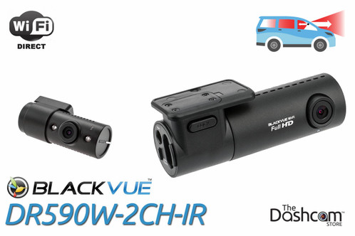 BlackVue DR590W-2CH-IR 1080p Dual-Lens Dashcam for Front and Night-vision Inside Audio and Video Recording with WiFi