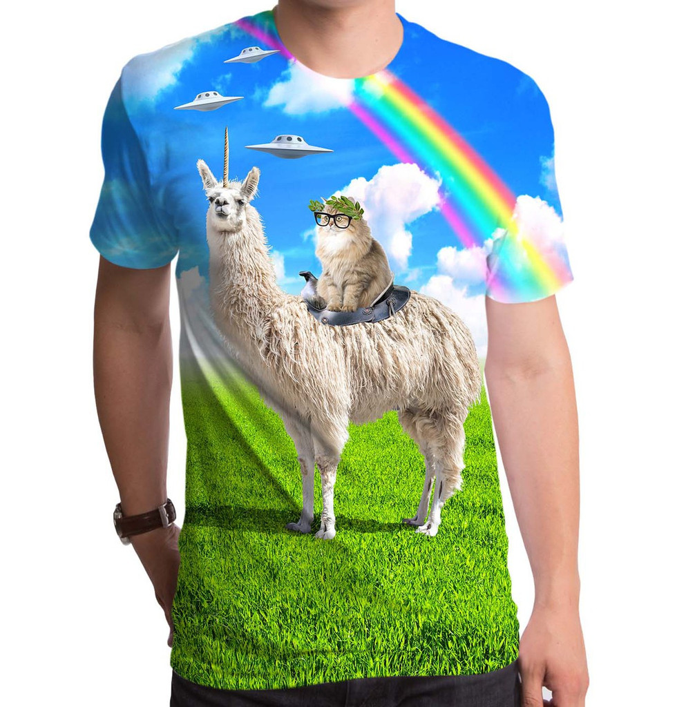 Cat Rides Llamacorn Men's Sublimated T-Shirt
