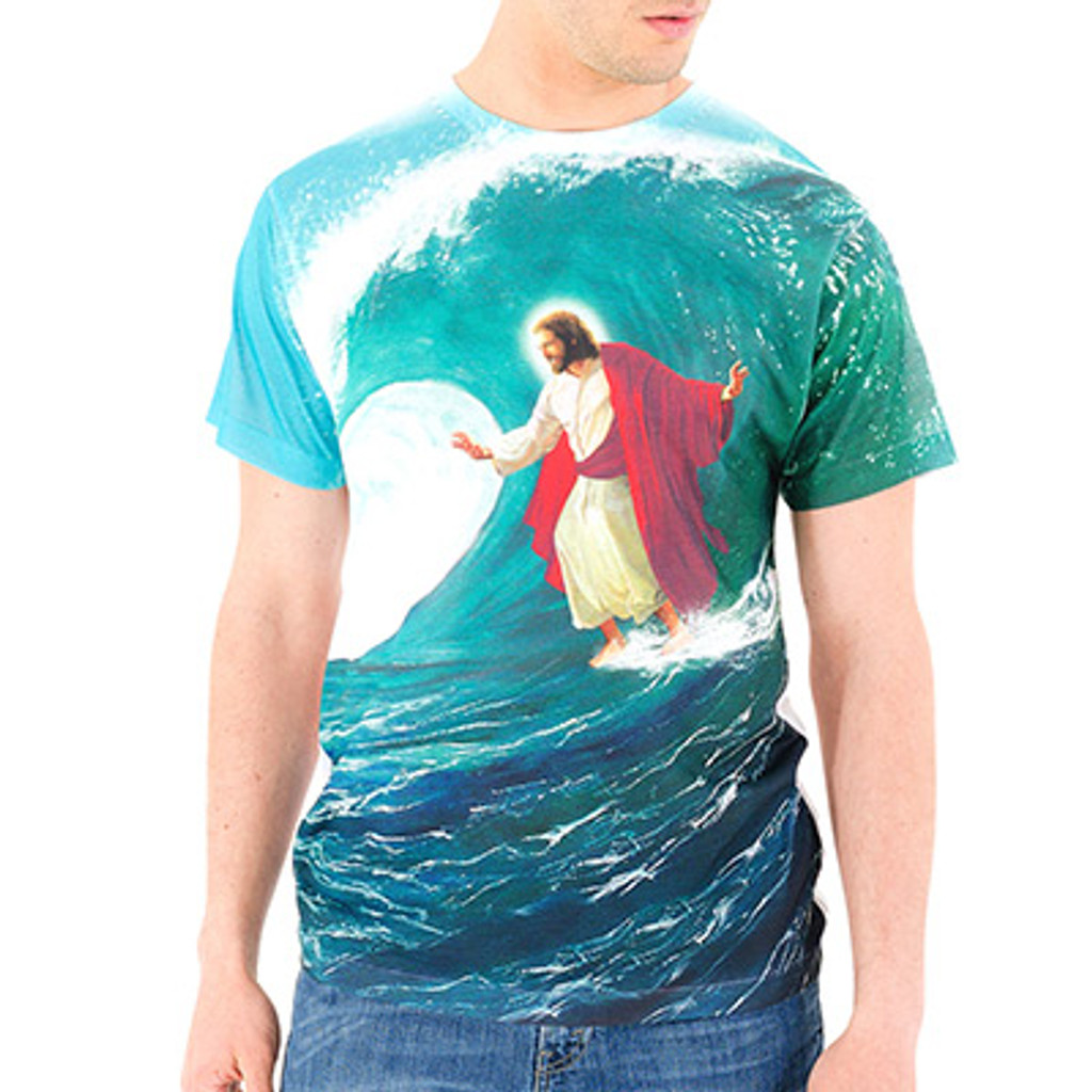 Surfs Up Jesus Men's Sublimated T-Shirt