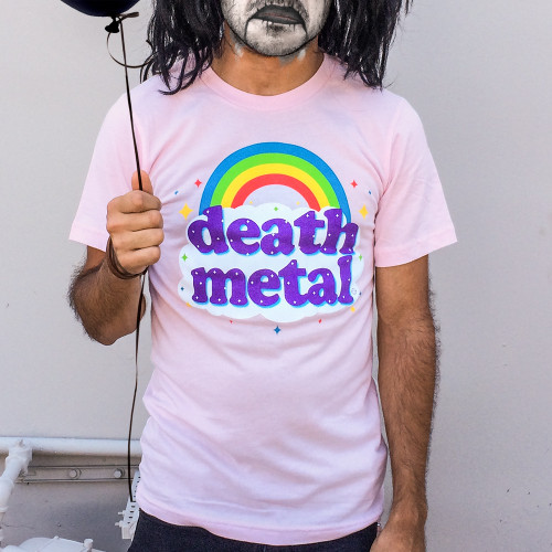 Pink Death Metal Rainbow T-Shirt - Funny Death Metal T-Shirt, Pink ...