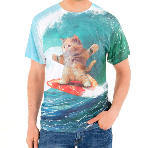 Pizza Surfing Cat Men's Sublimated T-Shirt