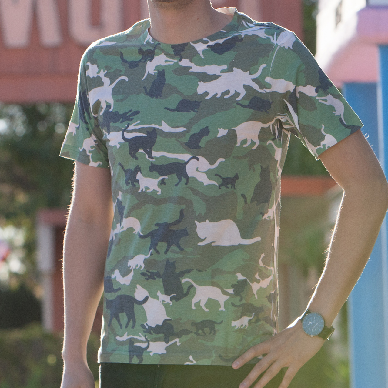 Design your own t-shirt international shipping - Catmouflage Cat Camo Men S Sublimated T Shirt