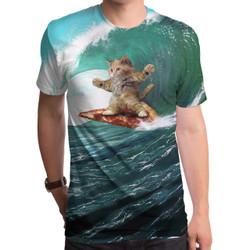 Pizza Surfing Cat Men's T-Shirt
