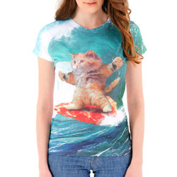 Pizza Surfing Cat Women's Sublimated T-Shirt