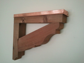Western red cedar bracket shown with optional copper flashing