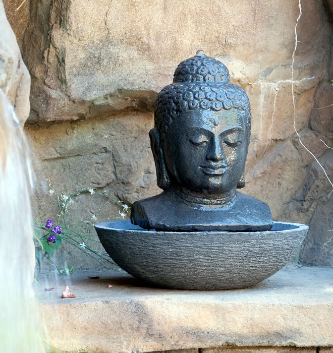 Garden Age Supply Buddha Head Water Fountain Hand Carved From Lava Stone Clickyhome Com
