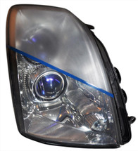 Headlight showing the before and after