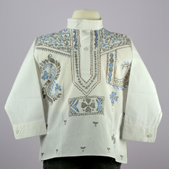 Jaipur Boy's White Long Sleeve Cotton Shirt Kurta w/ blue-grey embroidery
