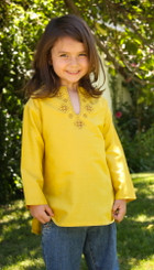 Girl's Yellow Silk Long Sleeve Kurta Top worn with Jeans