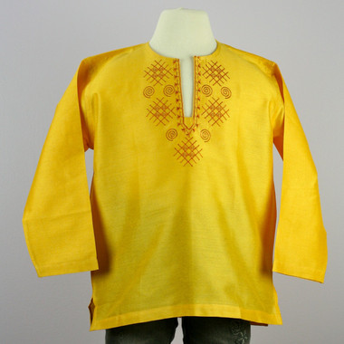 Girl's Yellow Silk Long Sleeve Kurta Top w/ orange embroidery on collar