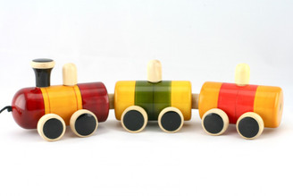 Choo Choo Train Wooden Pull Toy (Handcrafted) - sideways