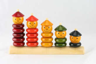 Peppy five Handcrafted Wooden Stacking Toy