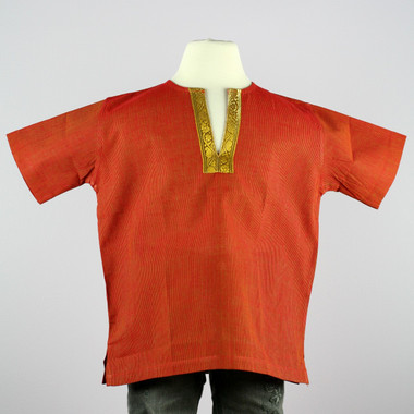 Boy's Short sleeve shirt kurta (Red w/ gold border)