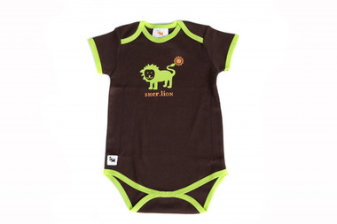 "Baby's ""Sher (Lion)"" One Piece (Brown-Lime Green/short sleeve)"