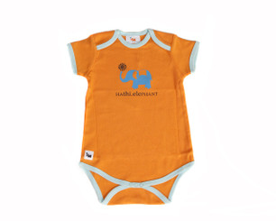 "Baby's ""Hathi - Elephant"" One Piece (Orange/Short Sleeve, Organic Cotton)"