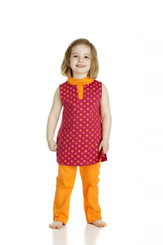 Rangoli dress (2T, 3T, 4T, 5T)(Red/Orange, sleeveless, Organic cotton)