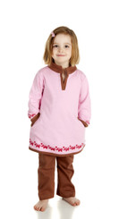 Elephant Dress (2T,3T,4T,5T) (Pink/Brown, long sleeve, Organic Cotton)