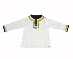 "Boys ""Car"" Long sleeve Shirt (2T,3T,5T) (White/Brown/Green)(Organic Cotton)"
