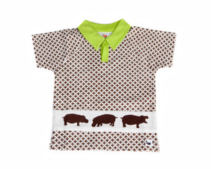 "Boys ""Hippo"" Polo T-shirt (2T,3T,4T,5T)(Brown/White/Green,Short sleeve,Organic Cotton)"