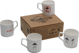 """No Sugar, 1 Sugar, 2 Sugars"" Chai tea mugs (set of 4) ""Chini"" (in Hindi) = sugar or chinese man)"