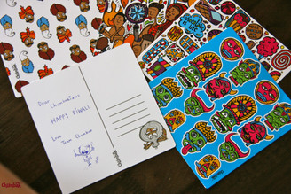 India patterns postcards
