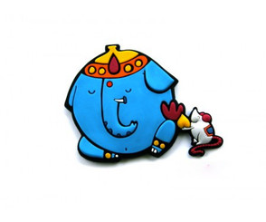 Chumbak: Ganesha & Mouse fridge magnet - funny cartoon