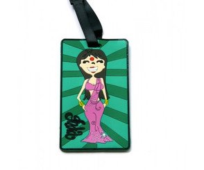 Chumbak's Beautiful Bollywood Actress luggage tag (green, pink)