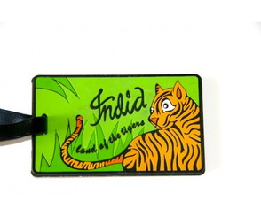 Chumbak: Land of Tiger luggage tag (green, orange)