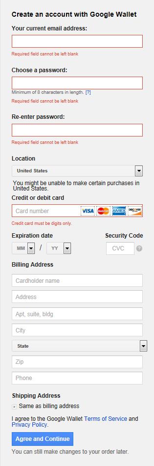 Google Wallet SignUp Form