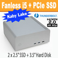 Fanless FC8-Series PC Core i5 7500T, 8GB, 256GB PCIe SSD, Thunderbolt 3, HDMI 2.0 [ASRock  Fatal1ty Z270]