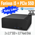 Fanless FC8-Series PC (Black) Core i5 7500T, 8GB, 256GB PCIe SSD, Thunderbolt 3, HDMI 2.0 [ASRock  Fatal1ty Z270]