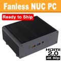 Fanless NUC PC, 7th Gen Quad Core Celeron, 4GB DDR3, 128GB SSD, Wifi/BT [Ready to Ship]