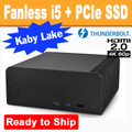 Fanless FC8-Series PC (Black) Core i5 7600T, 8GB, 256GB PCIe SSD, Thunderbolt 3, HDMI 2.0 [Ready to Ship]