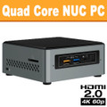 Intel Quad Core NUC PC, 4GB, 128GB SSD, Wifi, Bluetooth [NUC6CAYH]